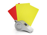 football violations. Whistle with red and yellow cards, the pena poster