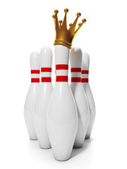 King of Bowling. Group of bowling pins and a golden crown on the