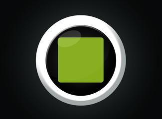 Bottone rotondo stop verde con sfondo nero e contorno bianco