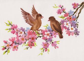Весна. Цветы и птицы. Акварель.