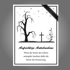 Aufrichtige Anteilnahme Trauerkarte mit Text