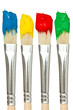 Four paintbrushes with color paints