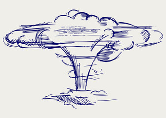 Atomic explosion. Doodle style
