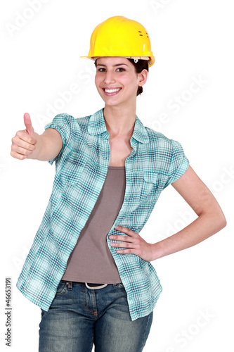 Female construction worker thumbs-up