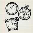 Doodle clocks set on sheet of paper