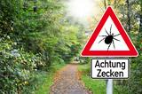 Fototapety Schild mit Zecken und Wald