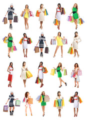 A collage of young women in dresses holding shopping bags