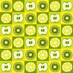 Seamless vector pattern with lemons, apples and kiwi