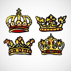 Set of doodle crowns vector illustration