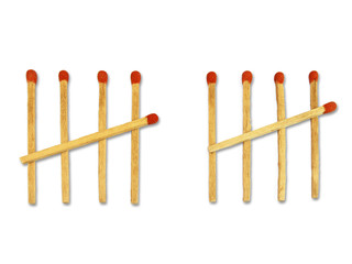 ten matchstick counting concept  on white background