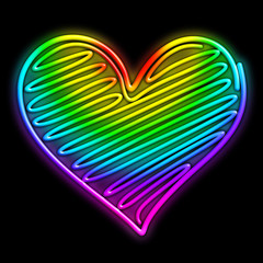 Love Heart Psychedelic Neon Light-Cuore Amore Luce Arcobaleno