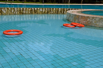 Lifebuoys in a Swimming pool