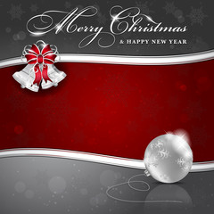 Background with Christmas bells and ball - place for text