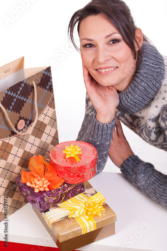 Woman with Christmas Gift box