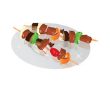 Illustration of meat and vegetables on a skewer, Kebab