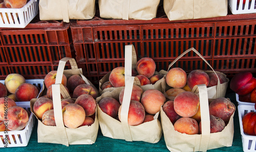 Sacks of Peaches at Local Fruit Market