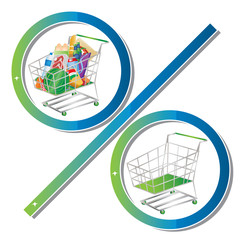 Empty and full shopping cart symbolized to look like a percent