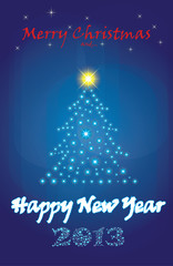 Glittering Christmas tree and New Year 2013 text, greeting card