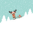 Rudolph Skiing Downhill Pulling Sleigh With Gift Retro