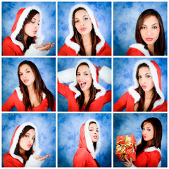 collage christmas girl expression