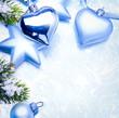 art christmas decoration on blue vintage background