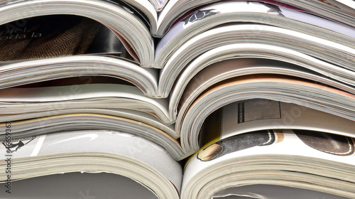 Magazines stacked view from the center