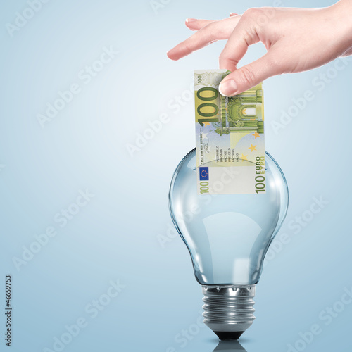 Money inside an electric light bulb