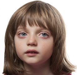 portrait of a crying little girl - white background