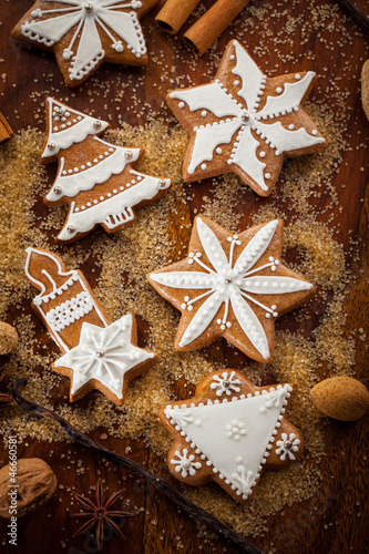 Gingerbread cookies with nuts and spices
