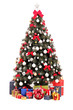 Decorated Christmas tree and gift boxes