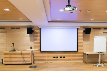 modern wooden conference room with multimedia environment