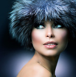 Winter Fashion. Fur Hat. Beautiful Girl in Furry Hat