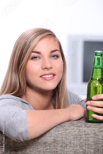 Woman with a beer