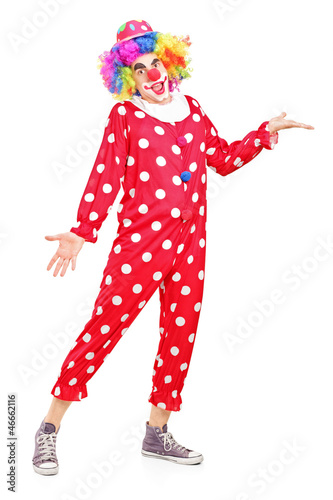 Full length portrait of a smiling happy clown gesturing
