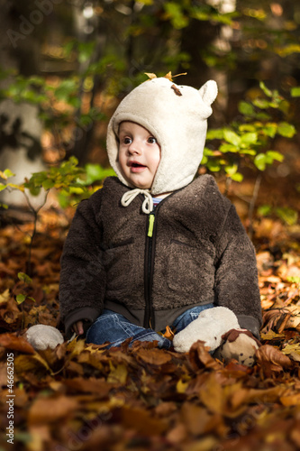 canvas print picture baby in autmn leaves