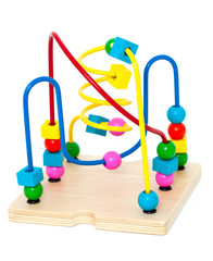 Child counting learning multi color wood bead toy isolated on wh