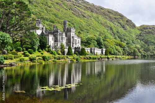 Leinwandbild Motiv Kylemore Abbey in Connemara mountains, Ireland