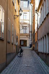 Bicycle in narrow street of Stockholm