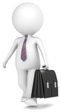 3D little human character the Business with briefcase