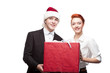business people holding christmas gift
