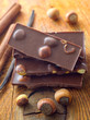 Chocolate and aroma spice on the wooden board
