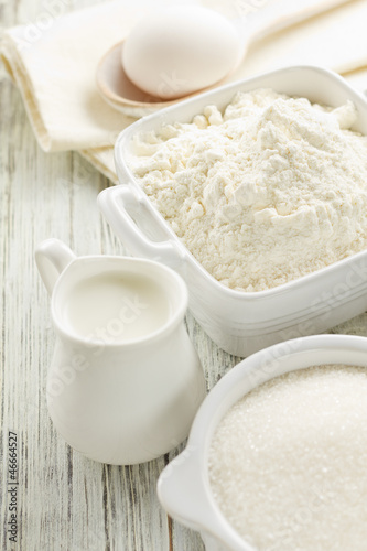 Flour, eggs, milk, sugar