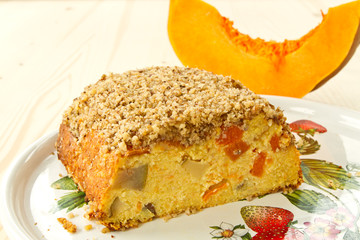 Curd cake with pieces of pumpkin
