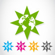 Set of colorful vector globe stars stickers