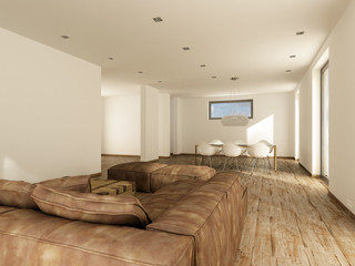 Wohnzimmer mit Esszimmer ohne räumliche Trennung