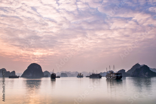 Beautiful Sunset in Halong Bay, Vietnam
