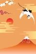 正月背景 富士山と鶴