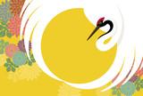 正月背景 鶴と菊