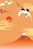 正月背景 富士山と鶴 - 46666977