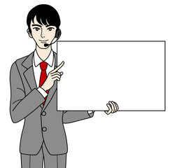 Male operator with Whiteboard